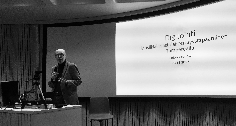 Päivän vierasohjelman päätti Pekka Gronow, aiheenaan musiikin digitoinnin mahdollisuudet.