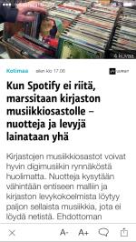Timo Leponiemi kirjoittaa Hämeenlinnan pääkirjaston musiikkiosaston 30-vuotisjuhlasta Ylen verkkouutisessa Kun Spotify ei enää riitä, marssitaan musiikkiosastolle – nuotteja ja levyjä lainataan yhä (Yle, 11.11.2015).