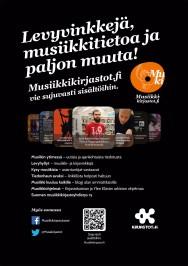 Juliste Musiikkikirjastot.fi on käytettävissä sekä printattavana että someen sopivana kuvana.