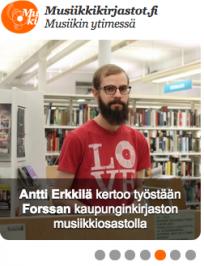 Kuvakaruselli Musiikin ytimessä tiedottaa musiikkikirjastouutisista. Voit tuoda uutisfoorumin verkkosivullesi upokkeeksi. Valokuva: Maija Pietilä.