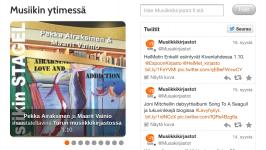 Musiikkikirjastot.fi älypuhelimen vaakanäytöllä. Pystynäytöllä mobiilinäyttö on yksipalstainen.
