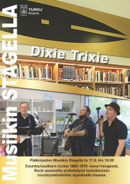 Southern rockin, countryn ja bluesin risteyksessä viihtyvä Dixie Trixie esiintyy Turun musiikkikirjastossa torstaina 17. syyskuuta. Tilaisuuteen on vapaa pääsy.