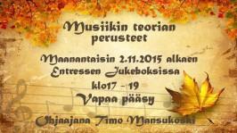 Espoon Entressen kirjaston Jukeboksissa kokoonnutaan maanantaisin musiikinteorian perusteiden ääreen 2. marraskuuta alkaen.