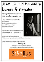 Sibelius 150 Kuopiossa: Iia Linnainmaan Sibelius-aiheinen luento maanantaina 7.12. Kuopion kaupunginkirjastossa. Voit osallistua myös tietovisaan.