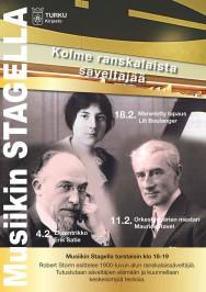 Robert Storm luennoi Turun musiikkikirjastossa jälleen helmikuussa 2016. Kolmiosaisen luentosarjan aiheina ovat Erik Satie, Maurice Ravel ja Lili Boulanger.