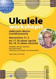 Tampereen Metson musiikkioastolla pidetään 21.3. ukulele-workshopit sekä lapsille että aikuisille. Tilaisuuksia vetää ukulele-opettaja Outi Koivuniemi. Soittimen saa lainaksi 35 ensimmäistä.
