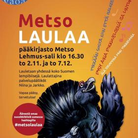 Yhteislaulua Tampereen pääkirjastossa! Metso laulaa 2.11. ja 7.12.