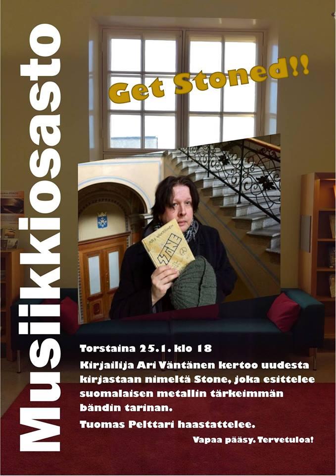 Stone-kirjailija Ari Väntänen vierailee Turun musiikkikirjastossa 28. tammikuuta 2018.