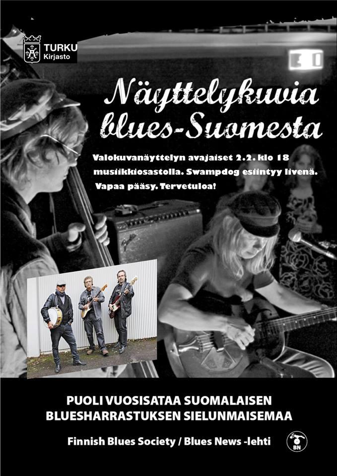 50 vuotta näyttelykuvia blues-Suomesta! Näyttelyn avajaisten vieraana bluesbändi Swampdog.