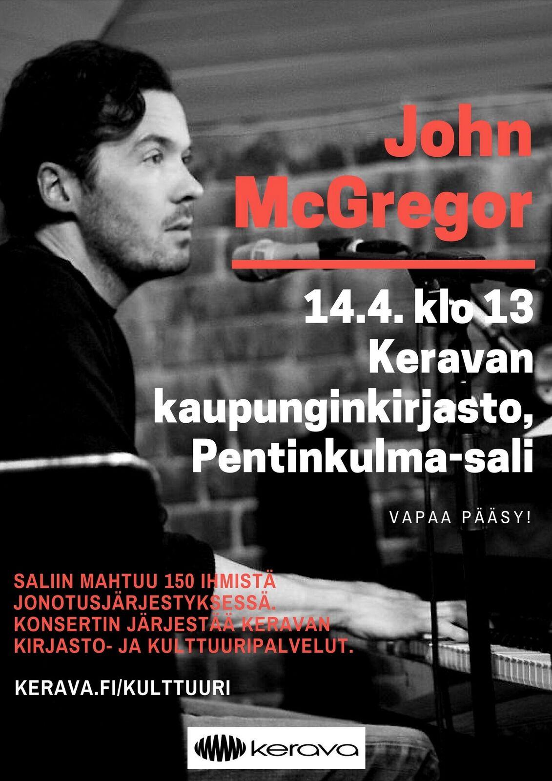 Laulaja-lauluntekijä John McGregor vierailee Keravan kirjaston Pentinkulma-salissa 14.4.2018.
