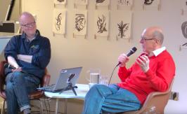 Pekka Nissilän (vas.) vieraana Pekka Gronow. Kirjasto 10, Helsinki, 9. maaliskuuta 2017.