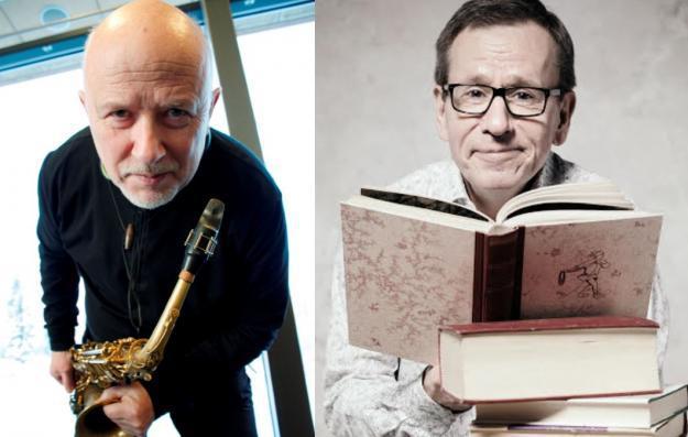 Sanoin ja sävelin! Jazzmuusikko Pentti Lahti ja kirjallisuustoimittaja Seppo Puttonen esiintyvät Espoon Tapanilan kirjastossa 20. syyskuuta 2018.