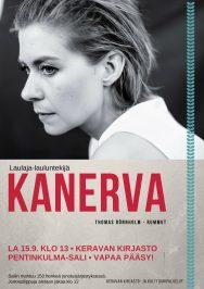 Kanerva esiintyy Keravan kirjaston Pentinkulma-salissa 15.9.2018.
