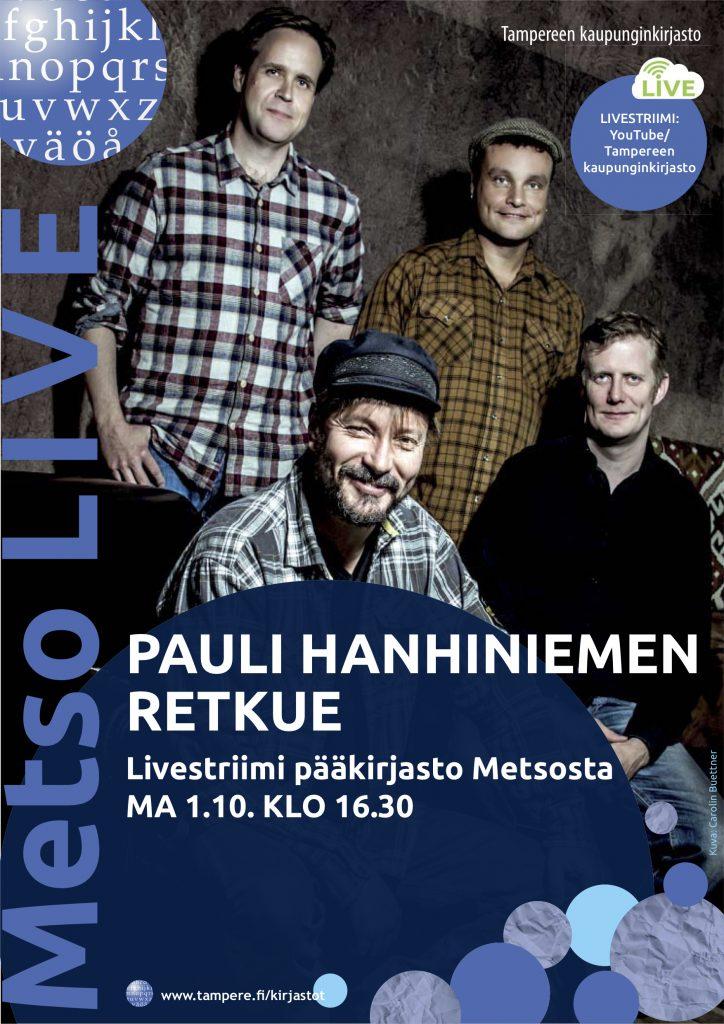Pauli Hanhiniemen Retkue esiintyy Tampereen pääkirjasto Metsossa maanantaina 1. lokakuuta 2018.