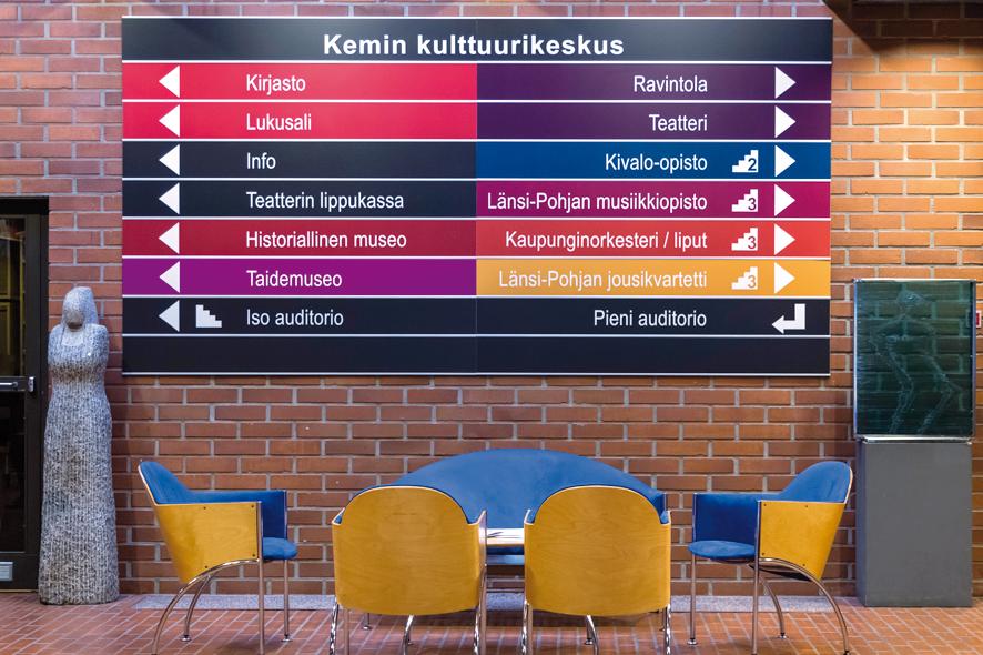 Kemin kaupunginkirjasto sijaitsee Kulttuurikeskuksessa. Kuva: Taru Mäkimartti.