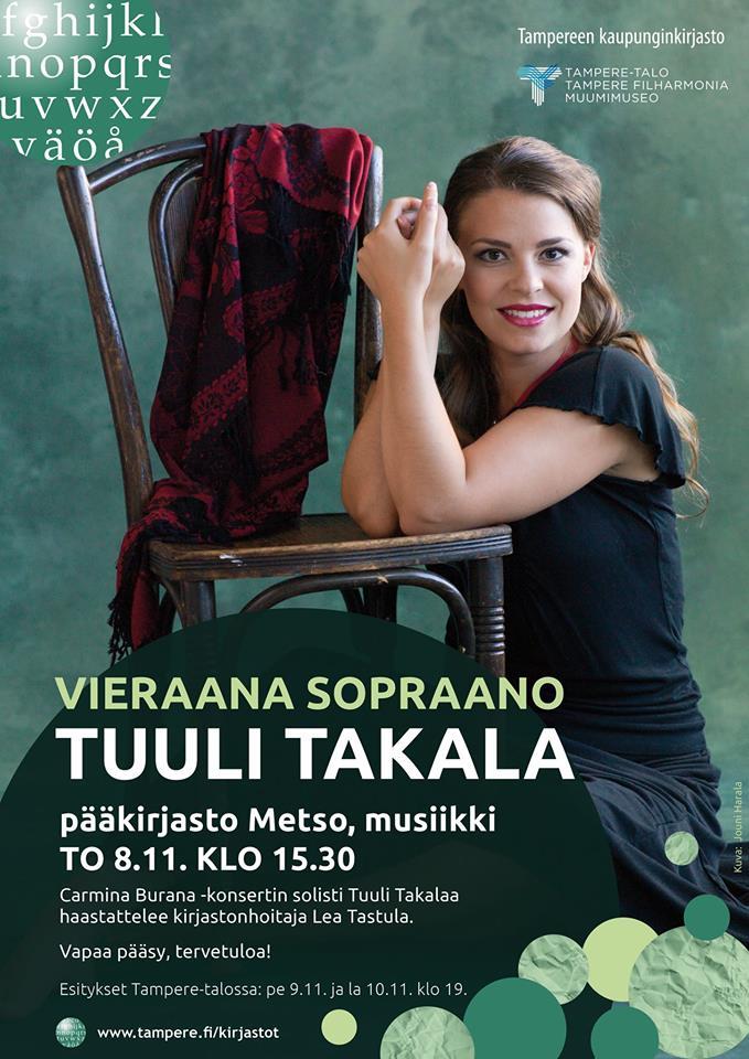 Sopraano Tuuli Takala on Metson vieraana torstaina 8. marraskuuta 2018.