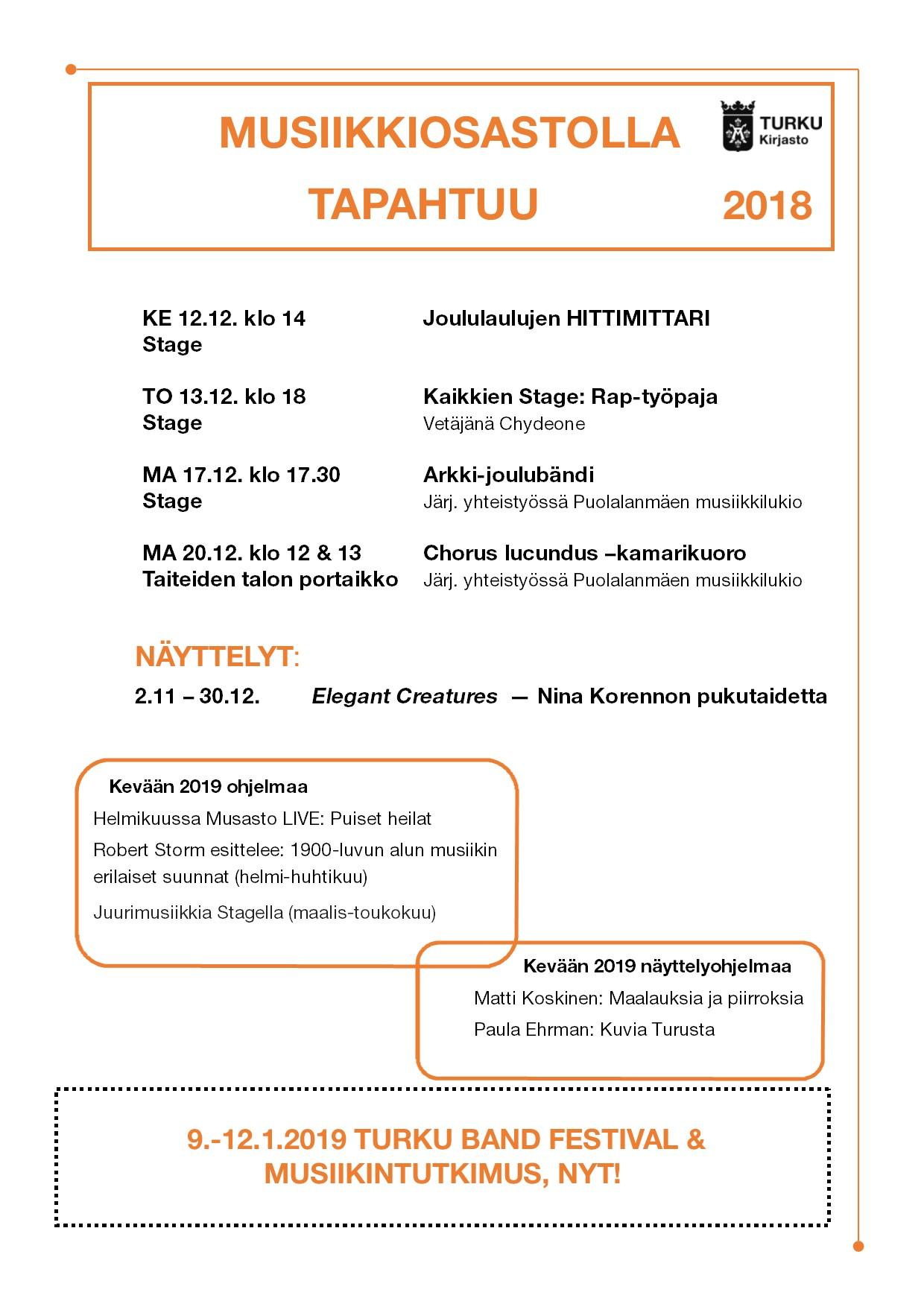 Turun musiikkikirjastossa tapahtuu joulukuussa 2018 vielä paljon.