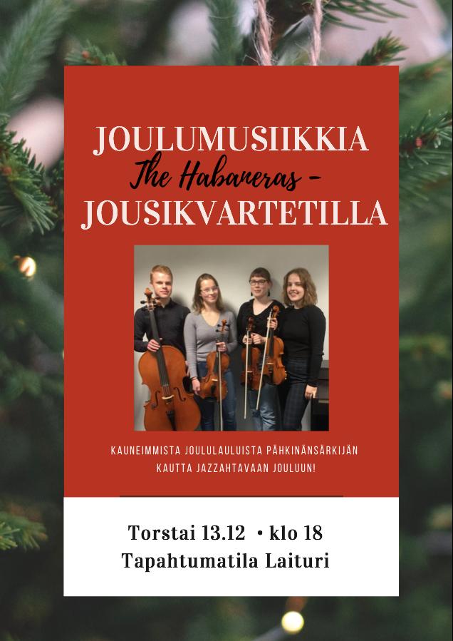 Jousikokoonpano The Habaneras esiintyy Oulun pääkirjastossa torstaina 13. joulukuuta 2018.