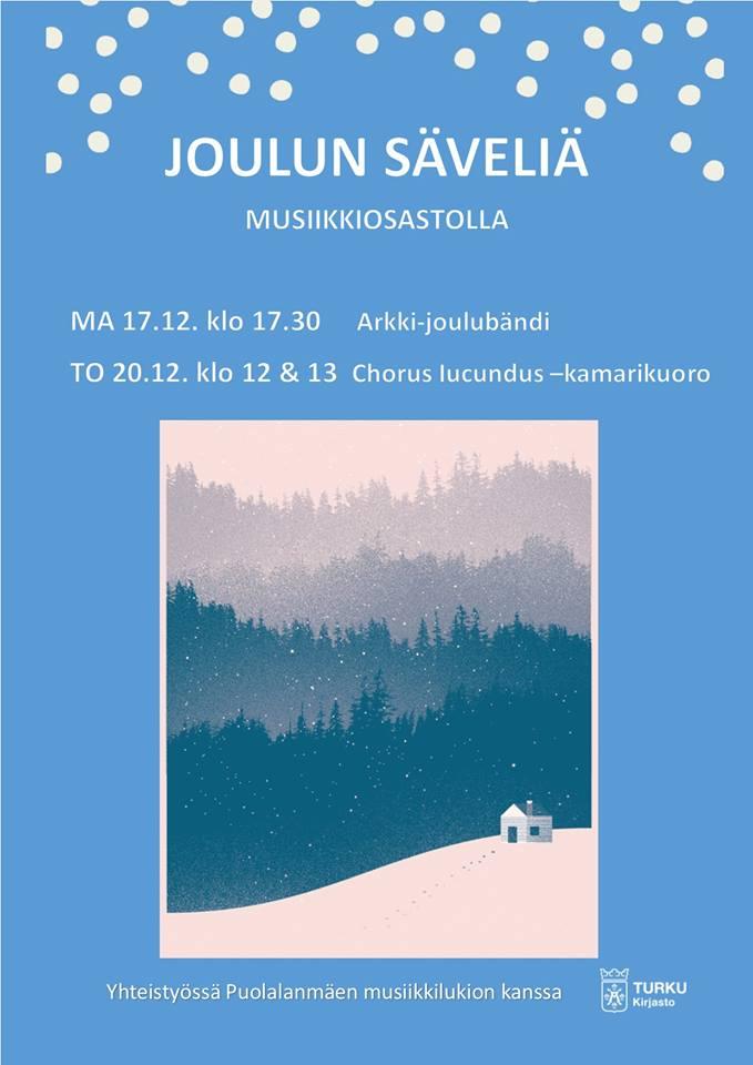 Turun musiikkikirjaston Joulun Säveliä: Arkki-joulubändi maanantaina 17.12. ja kamarikuoro Chorus Iucundus torstaina 20.12.