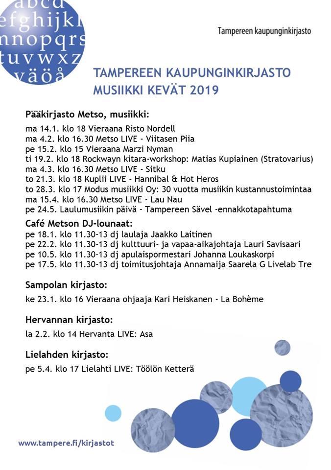 Tampereen kaupunginkirjaston vilkas musiikkikevät 2019.