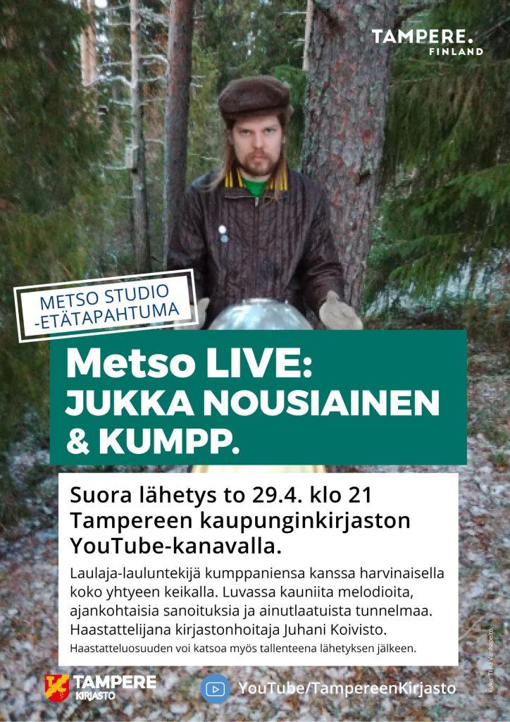 Jukka Nousiainen & Kumpp. esiintyvät Tampereen pääkirjasto Metsossa 29.4.2021.