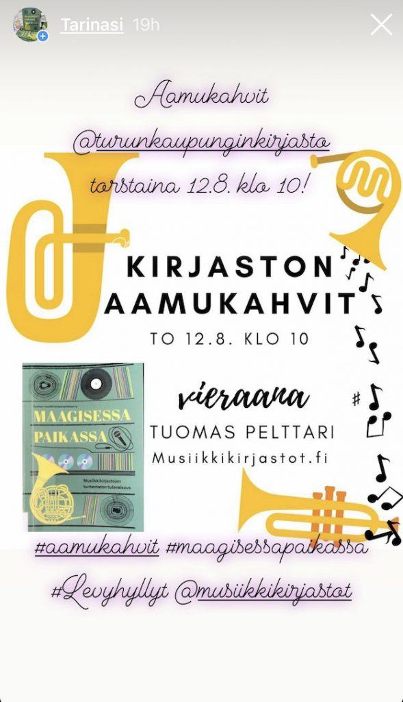 Aamukahvit 12.8.2021 Turun kaupunginkirjaston Instagramissa.