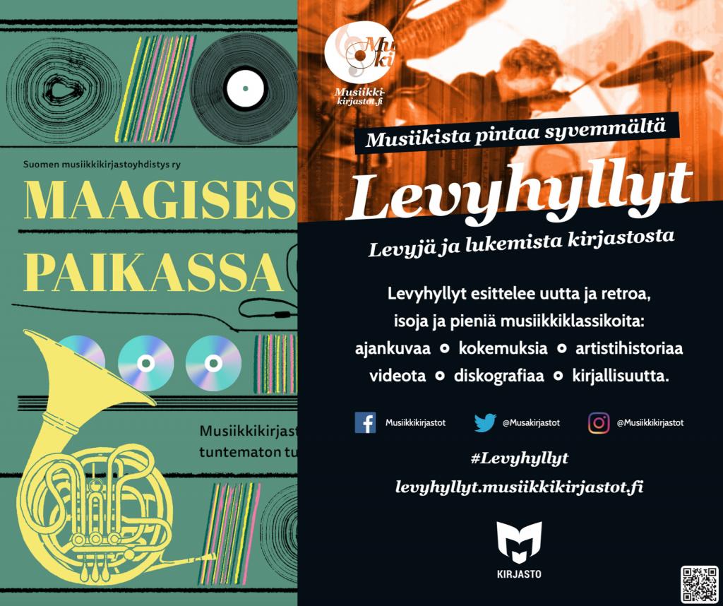 Maagisessa paikassa ja Levyhyllyt -kollaasi 12.8.2021.
