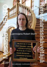 Robert Storm luennoi Turun musiikkikirjastossa syyskuussa 2021.