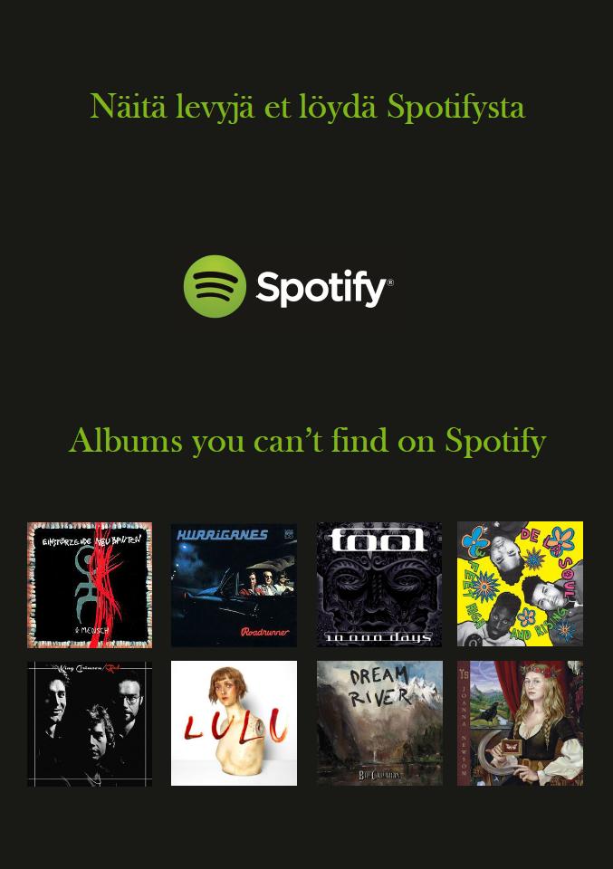 Näitä levyjä et löydä Spotifysta 2018.