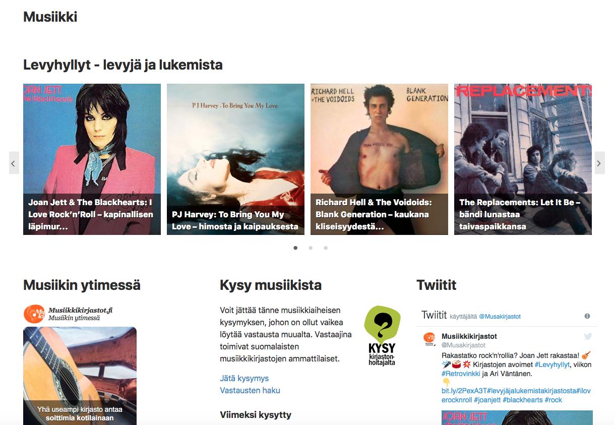 Eepos-kirjastojen musiikkisivu 9.10.2018. Syötteenä saatavana: Levyhyllyt, Musiikin ytimessä, Kysy musiikista ja Twitter-syöte.