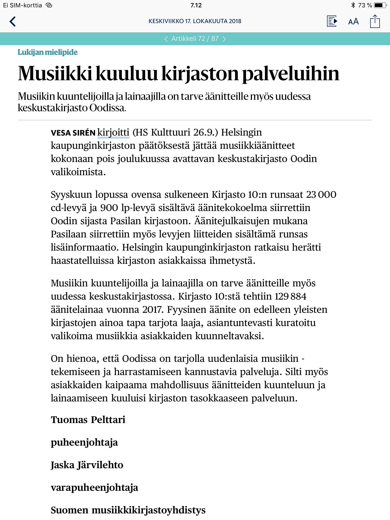 Musiikki kuuluu kirjaston palveluihin, HS 17.10.2018.
