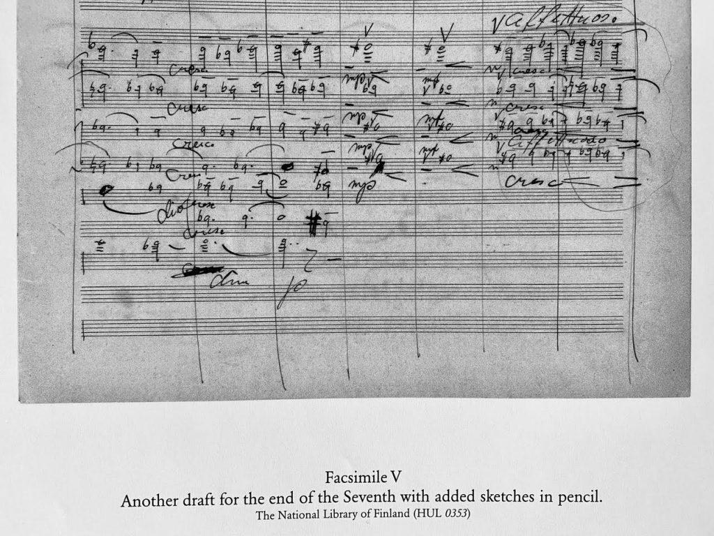 Näyte käsikirjoitusaineistosta, kriittinen editio 2010. Sibeliuksen luonnos seitsemännen sinfonian [Sinfoniat, nro 7, op. 105 D-duuri] finaalista julkaistiin JSW-niteessä Symphony no. 7 in one movement, Complete works. Series I, Orchestral works.