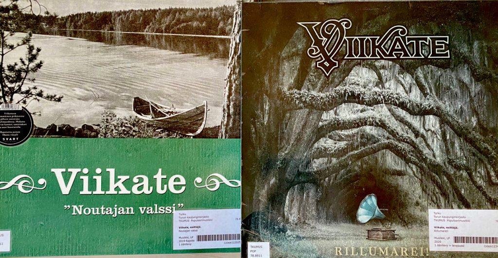Viikate-albumit Noutajan valssi (2000) ja Rillumarei! (2020). Kuva: Tuomas Pelttari.