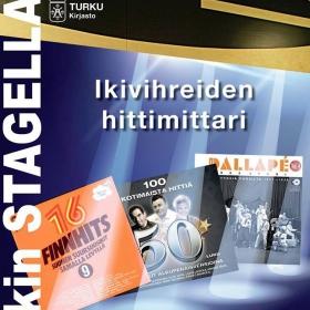 Musiikin Stagella: hittejä eri vuosikymmeniltä. Turun musiikkikirjastossa pidetään syys-lokakuussa 2016 Ikivihreiden hittimittaria. Ensimmäinen kuuntelutilaisuuksista pidetään torstaina 22. syyskuuta.