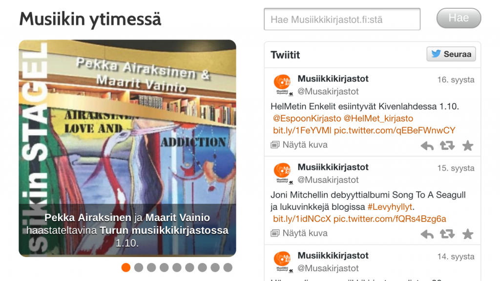 Musiikkikirjastot.fi:n näkymää älypuhelimen vaakanäytöllä. Pystynäytöllä puhelimen mobiilinäyttö on yksipalstainen.