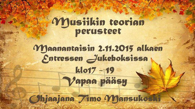 Espoon Entressen kirjaston Jukeboksissa kokoonnutaan musiikinteorian perusteiden ääreen maanantaisin 2. marraskuuta alkaen. Vapaa pääsy.