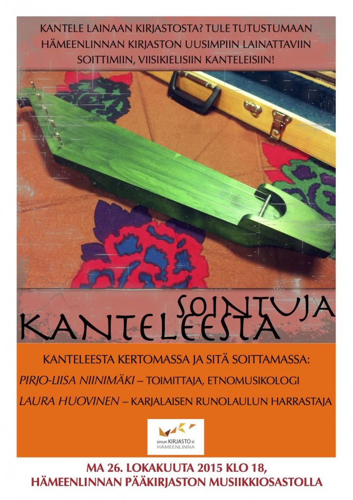 Sointuja kanteleesta Hämeenlinnan pääkirjaston musiikkiosastolla 26.10.