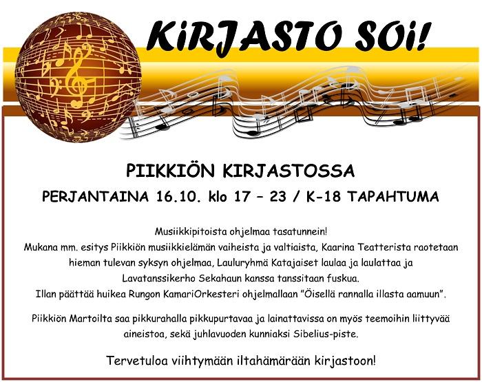 Kirjasto soi! Piikkiössä pe 16.10.2015 klo 17–23.