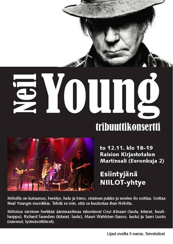 Neil Youngin musiikkia esittävä tribuuttiyhtye Niilot esiintyy Raision kirjastotalon Martinsalissa torstaina 12.11.2015.