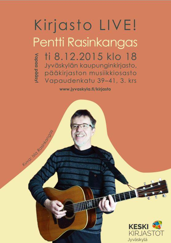 Kirjasto LIVE! Pentti Rasinkangas konsertoi Jyväskylän pääkirjastossa tiistaina 8.12.