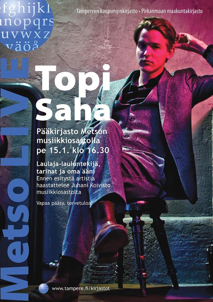 Topi Saha esiintyy Metson musiikkiosastolla perjantaina 15.1.