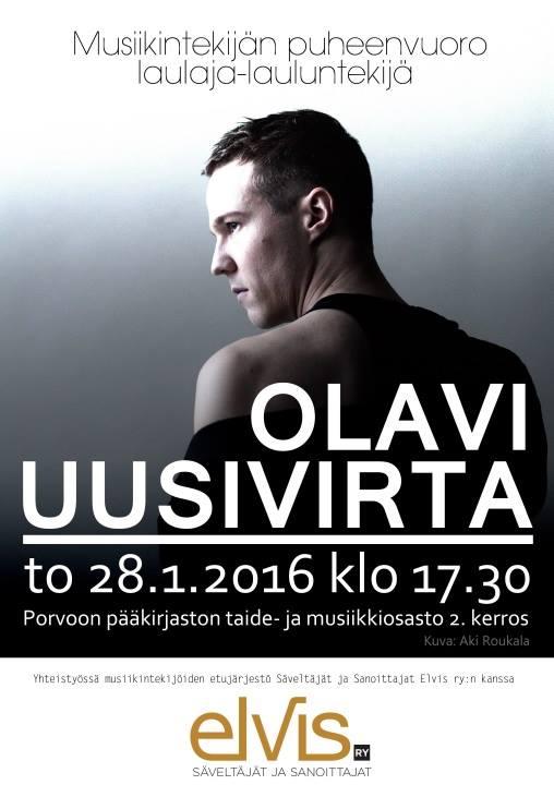 Olavi Uusivirta vierailee Porvoon pääkirjaston taide- ja musiikkiosastolla torstaina 28. tammikuuta 2016.