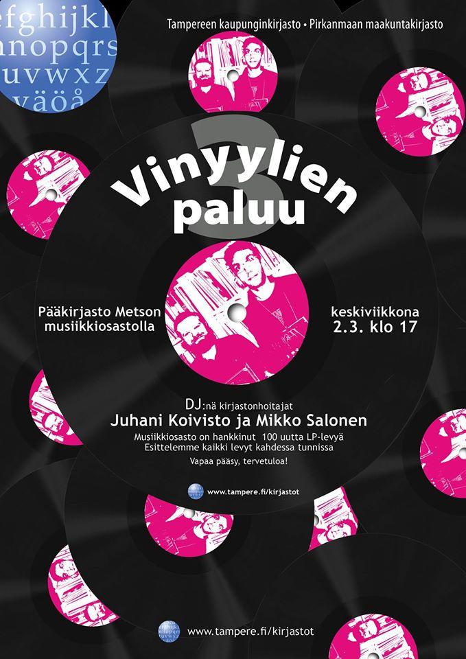 Metson musiikkiosastolle on jälleen hankittu 100 LP-levyä. Vinyylien paluu 3 keskiviikkona 2.3. DJ:t Juhani Koivisto ja Mikko Salonen esittelevät kaikki levyt kahdessa tunnissa.