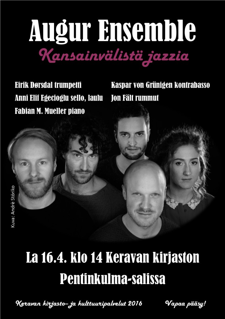 Kansainvälinen jazzyhtye Augur Ensemble Keravan kirjastossa lauantaina 16.4.2016.