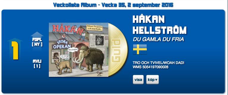 Håkan Hellströmin albumi Du gamla du fria nousi listaykköseksi syyskuussa 2016.