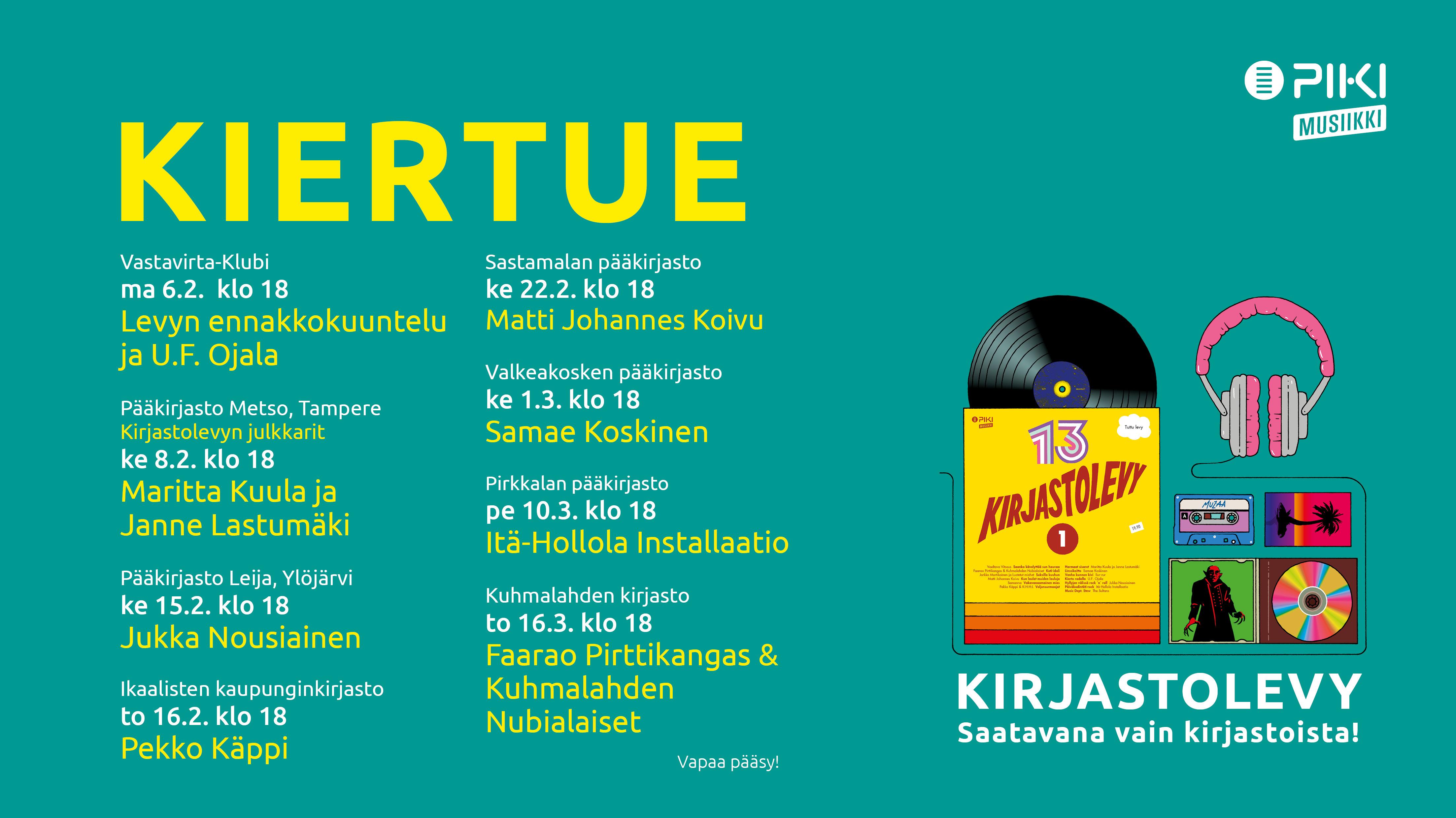 Kirjastolevykiertue valtaa Pirkanmaata helmi-maaliskuussa 2017.