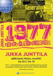Kirjailija, levymoguli ja punk-asiantuntija Jukka Junttila vierailee Tampereen pääkirjasto Metson musiikkiosastolla 20.2.